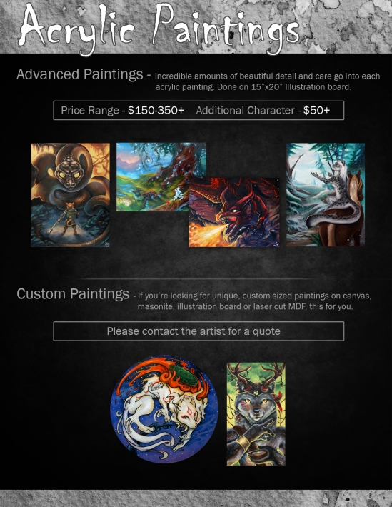 Dragonstorm Studios Commissions: Acrylic Paintings