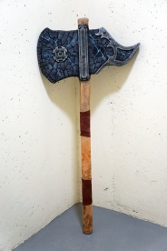 """A mighty Emperor-Grade boffer battle axe, ready to strike down its foes with thunder and lightning! It's 50"""" from tip to butt, wrapped in genuine leather."""